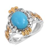 Arizona Sleeping Beauty Turquoise 14K YG and Platinum Over Sterling Silver Heart Openwork Ring (Size 6.0) TGW 2.35 cts.