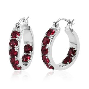 Stainless Steel Hoop Earrings Made with SWAROVSKI Ruby Crystal TGW 3.50 cts.