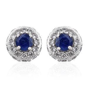 Masoala Sapphire, Cambodian Zircon Platinum Over Sterling Silver Earrings TGW 4.88 cts.