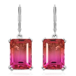 Arizona Sunset Quartz Platinum Over Sterling Silver Lever Back Earrings TGW 17.46 cts.