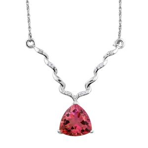 Arizona Sunset Quartz, Cambodian Zircon Platinum Over Sterling Silver Princess Drop Necklace (18 in) TGW 6.11 cts.