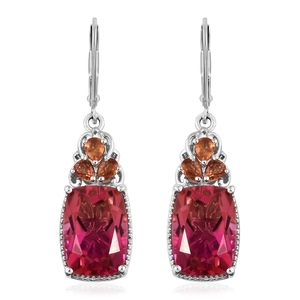 Arizona Sunset Quartz, Orange Sapphire Platinum Over Sterling Silver Lever Back Earrings TGW 15.98 cts.