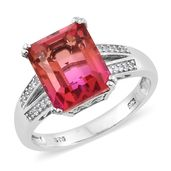 Arizona Sunset Quartz, Cambodian Zircon Platinum Over Sterling Silver Ring (Size 7.0) TGW 7.68 cts.