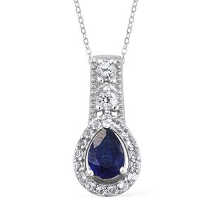 Masoala Sapphire, White Topaz Platinum Over Sterling Silver Pendant With Stainless Steel Chain (20 in) TGW 1.38 cts.