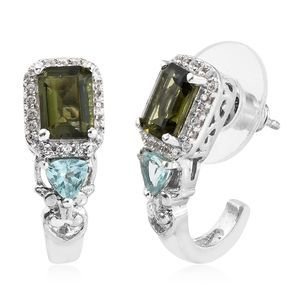 Bohemian Moldavite, Multi Gemstone Platinum Over Sterling Silver J-Hoop Earrings TGW 2.57 cts.