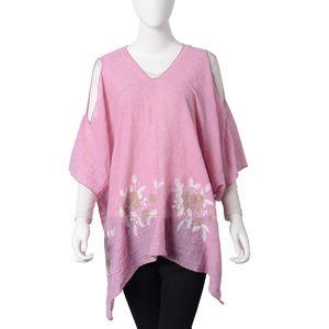Pink 100% Polyester Embroidered Floral Cold Shoulder V-Neck Poncho (One Size)