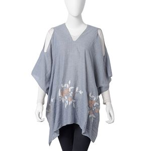 Gray 100% Polyester Embroidered Floral Cold Shoulder V-Neck Poncho (One Size)