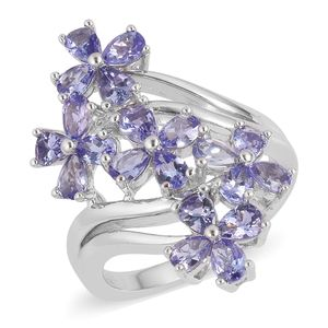Tanzanite Sterling Silver Elongated Floral Bypass Ring (Size 10.0) TGW 2.75 cts.