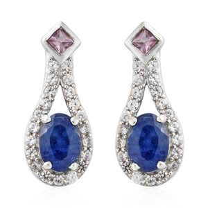 Masoala Sapphire, Madagascar Pink Sapphire, Cambodian Zircon Platinum Over Sterling Silver Earrings TGW 3.11 cts.