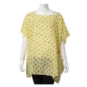 Yellow 100% Polyester Anchor and Rudder Wheel Pattern Poncho (One Size)