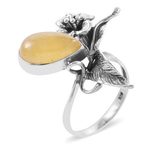 Bali Legacy Collection Burmese Honey Jade Sterling Silver Ring (Size 10.0) TGW 8.09 cts.