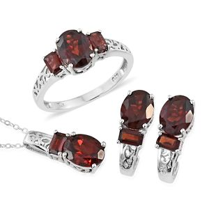 Mozambique Garnet Platinum Over Sterling Silver Earrings, Ring (Size 8) and Pendant With Chain (20 in) TGW 10.85 cts.