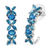 Malgache Neon Apatite Platinum Over Sterling Silver Floral J-Hoop Earrings TGW 3.82 cts.