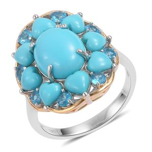 Arizona Sleeping Beauty Turquoise, Malgache Neon Apatite 14K YG Over and Sterling Silver Ring (Size 7.0) TGW 7.25 cts.