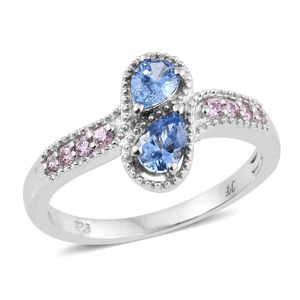 J Francis - Platinum Over Sterling Silver Bypass Drop Ring Made with SWAROVSKI Blue and Pink ZIRCONIA (Size 6.0) TGW 1.53 cts.
