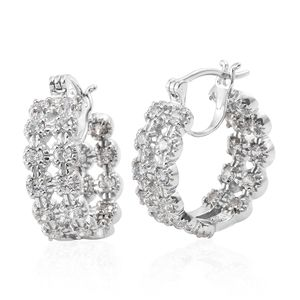 J Francis - Platinum Over Sterling Silver Inside Out Hoop Earrings Made with SWAROVSKI ZIRCONIA TGW 5.25 cts.