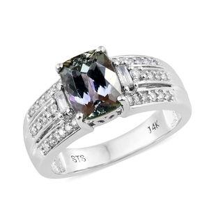 14K WG Peacock Tanzanite (2A), Diamond Ring (Size 7.0) TDiaWt 0.26 cts, TGW 2.56 cts.