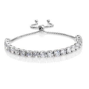 J Francis - Platinum Over Sterling Silver Bolo Bracelet Made with SWAROVSKI ZIRCONIA (Adjustable) TGW 17.00 cts.