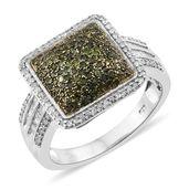 Diamond, Green Diamond (IR) Platinum Over Sterling Silver Ring (Size 8.0) TDiaWt 1.00 cts, TGW 1.00 cts.
