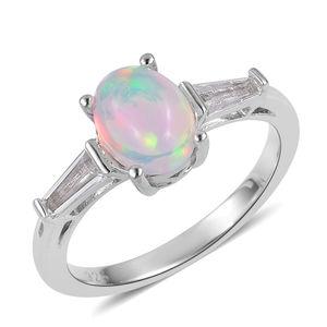 Ethiopian Welo Opal, White Topaz Sterling Silver Ring (Size 8.0) TGW 1.08 cts.