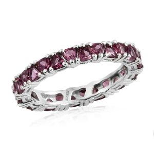 Orissa Rhodolite Garnet Platinum Over Sterling Silver Eternity Band Ring (Size 5.0) TGW 3.64 cts.