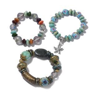 Resin, Multi Gemstone, Ceramic Iron Set of 3 Bracelet (6.50 In) TGW 548.50 cts.