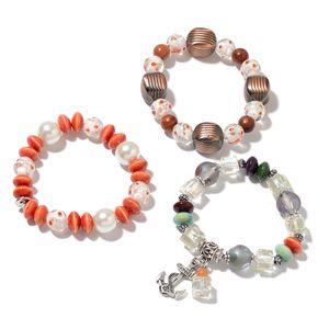 Resin, Multi Gemstone, Ceramic, Wooden Beads Iron Set of 3 Bracelet TGW 401.00 cts.