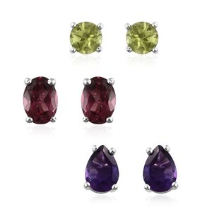 Multi Gemstone Platinum Over Sterling Silver Earrings TGW 4.20 cts.