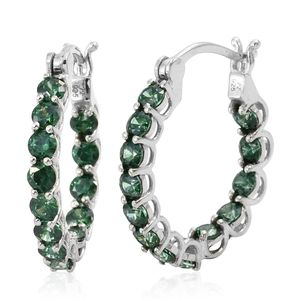 J Francis - Platinum Over Sterling Silver Inside Out Hoop Earrings Made with Green SWAROVSKI ZIRCONIA TGW 5.25 cts.