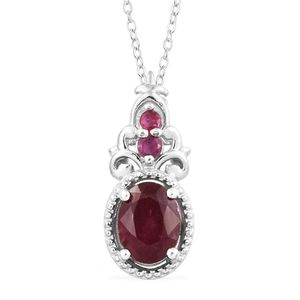 Niassa Ruby Platinum Over Sterling Silver Pendant With Chain (20 in) TGW 1.76 cts.