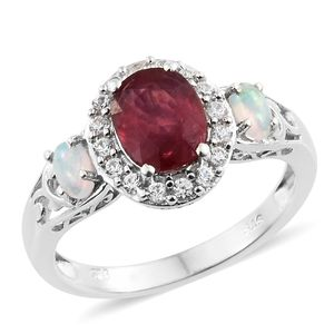 Niassa Ruby, Multi Gemstone Platinum Over Sterling Silver Ring (Size 6.0) TGW 3.25 cts.