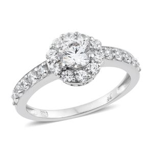 J Francis - Platinum Over Sterling Silver Halo Ring Made with SWAROVSKI ZIRCONIA (Size 5.0) TGW 3.15 cts.