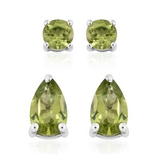 Set of 2 Hebei Peridot Platinum Over Sterling Silver Stud Earrings TGW 2.24 cts.