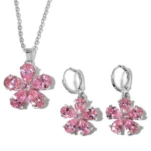Simulated Pink Sapphire Stainless Steel Floral Earrings and Pendant Chain (18 in) TGW 8.00 cts.