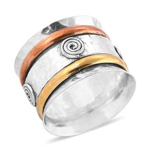 Bali Legacy Collection 14K YRG and Platinum Over Sterling Silver Band Ring (Size 7.0)