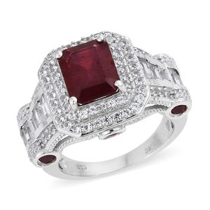 Niassa Ruby, White Topaz Platinum Over Sterling Silver Ring (Size 5.0) TGW 10.90 cts.