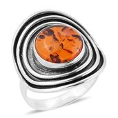 Bali Legacy Collection Baltic Amber Sterling Silver Cuff Ring (Size 8.0)