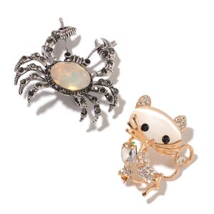 Lab Created Cats Eye White, Multi Gemstone Silvertone & Goldtone Set of 2 Crab and Cat Brooch TGW 13.20 cts.