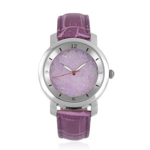 EON 1962 Burmese Purple Jade Swiss Movement Water Resistant Watch with Purple Genuine Leather Strap & Stainless Steel Back TGW 25.00 cts.