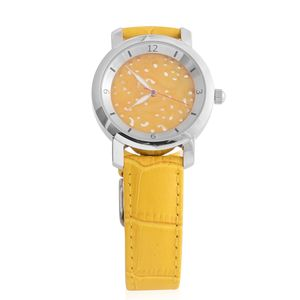 EON 1962 Burmese Yellow Jade Swiss Movement Water Resistant Watch with Yellow Genuine Leather Strap & Stainless Steel Back TGW 25.00 cts.