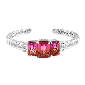 Arizona Sunset Quartz, White Topaz Platinum Over Sterling Silver Cuff (7.25 in) TGW 35.30 cts.