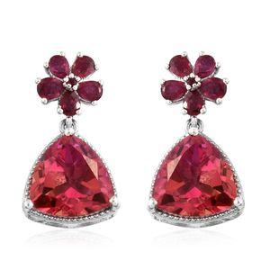 Arizona Sunset Quartz, Niassa Ruby Platinum Over Sterling Silver Dangle Floral Earrings TGW 14.30 cts.