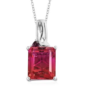 Arizona Sunset Quartz, Orissa Rhodolite Garnet Platinum Over Sterling Silver Pendant With Chain (20 in) TGW 7.39 cts.