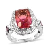 Arizona Sunset Quartz, Multi Gemstone Platinum Over Sterling Silver Ring (Size 10.0) TGW 8.43 cts.