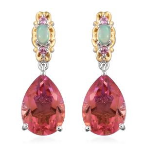 Arizona Sunset Quartz, Multi Gemstone 14K YG and Platinum Over Sterling Silver Drop Earrings TGW 11.90 cts.