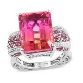 Arizona Sunset Quartz, Multi Gemstone Platinum Over Sterling Silver Royal Ring (Size 7.0) TGW 20.65 cts.