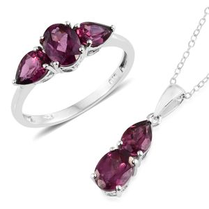 Orissa Rhodolite Garnet Platinum Over Sterling Silver Ring (Size 8) and Pendant With Chain (20 in) TGW 5.70 cts.