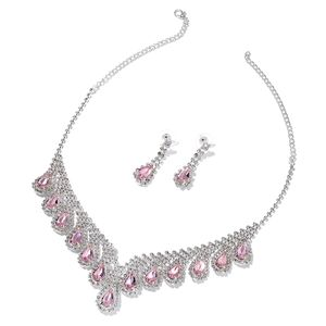 Nik's Pick Simulated Pink Sapphire, White Austrian Crystal Silvertone Drop Earrings and BIB Necklace (22 in)