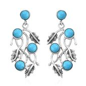 Artisan Crafted Arizona Sleeping Beauty Turquoise Sterling Silver Earrings TGW 6.00 cts.