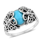 Artisan Crafted Arizona Sleeping Beauty Turquoise Sterling Silver Butterfly Split Solitaire Ring (Size 6.0) TGW 2.57 cts.